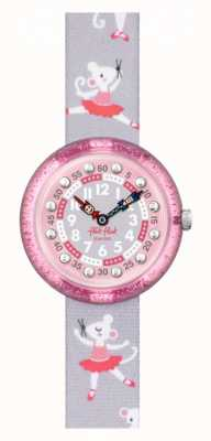 Flik Flak Pirouette | bracelet en tissu imprimé ballerine grise | cadran rose FBNP162