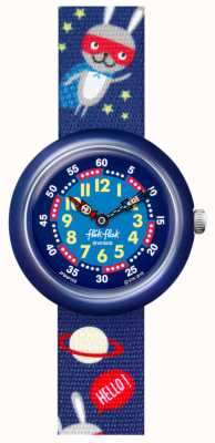 Flik Flak Super hopper | bracelet en tissu imprimé espace bleu | cadran bleu FBNP166