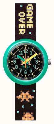 Flik Flak Envahisseur du temps | bracelet en tissu patten noir | cadran noir FPNP069