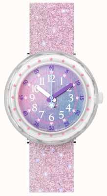 Flik Flak Pearlaxus | bracelet en silicone pailleté rose | cadran multicolore FCSP107