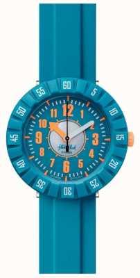 Flik Flak Teal mon esprit | bracelet en silicone bleu | cadran bleu FCSP099