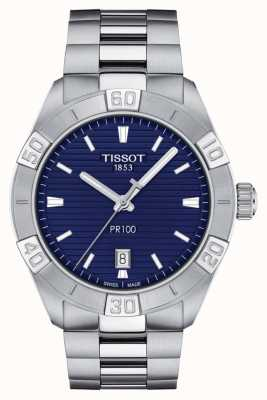Tissot Pr100 sport | cadran bleu | bracelet en acier inoxydable T1016101104100