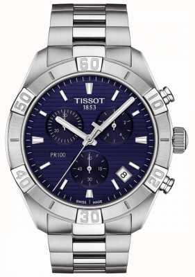 Tissot Pr100 sport | chronographe | cadran bleu | bracelet en acier inoxydable T1016171104100