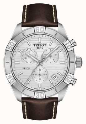 Tissot Pr100 sport | chronographe | cadran argenté | bracelet en cuir marron T1016171603100