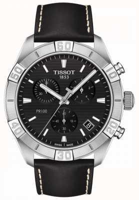 Tissot Pr100 sport | chronographe | cadran noir | bracelet en cuir noir T1016171605100