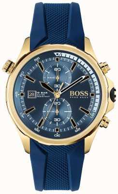 BOSS | globe-trotter | chronographe | cadran bleu | bracelet en silicone bleu | 1513822