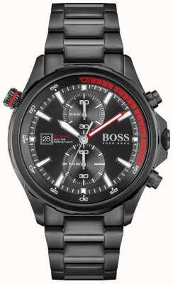 BOSS | globe-trotter | chronographe | cadran noir | bracelet en acier pvd noir | 1513825