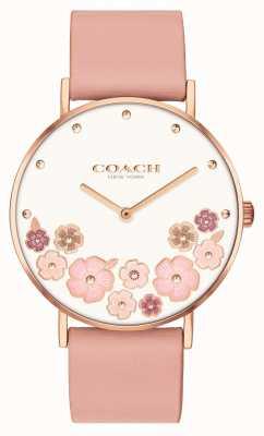 Coach Perry | bracelet en cuir de veau rose pour femme | cadran floral 14503770