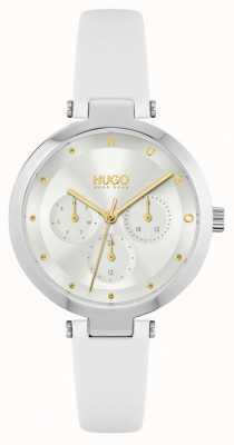 HUGO # espoir | bracelet en cuir blanc pour femme | cadran argenté 1540086