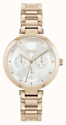 HUGO #hope multi | bracelet en acier doré rose pour femme | cadran argenté 1540087