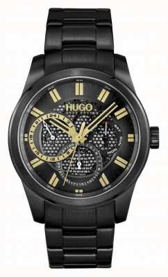 HUGO #skeleton | bracelet ip noir pour homme | cadran noir 1530192