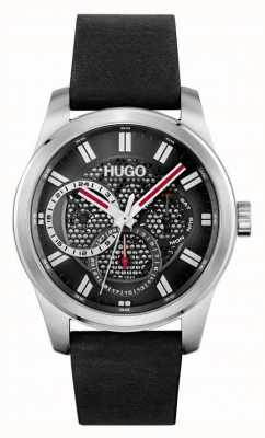 HUGO #skeleton | bracelet en cuir noir pour homme | cadran noir 1530189