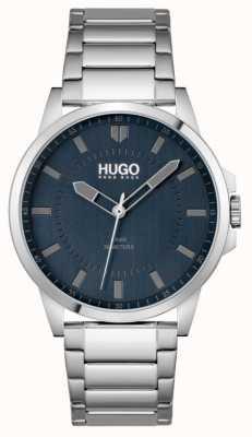 HUGO #first | bracelet en acier inoxydable pour homme | cadran bleu 1530186