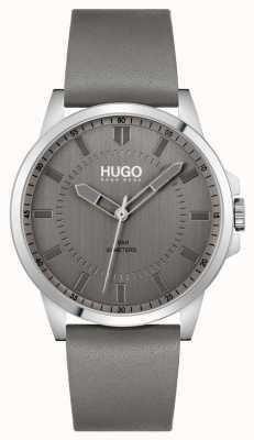 HUGO #first | bracelet en cuir gris pour homme | cadran gris 1530185