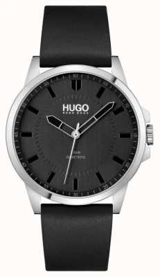 HUGO #first | bracelet en cuir noir pour homme | cadran noir 1530188