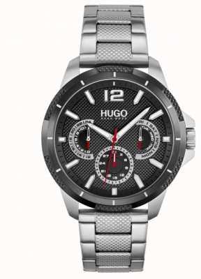HUGO #sport | bracelet en acier inoxydable pour homme | cadran noir 1530195
