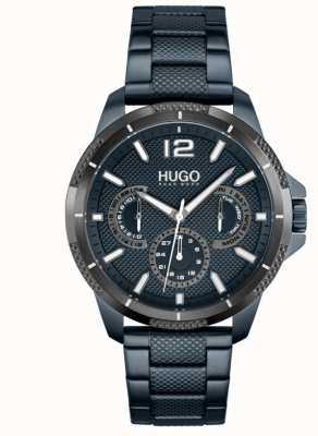 HUGO #sport | bracelet en acier ip bleu pour homme | cadran bleu 1530194