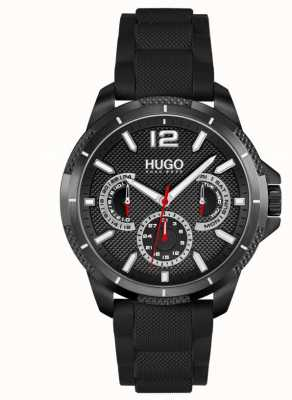 HUGO #sport | bracelet en silicone noir pour homme | cadran noir 1530193