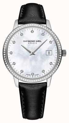 Raymond Weil Toccata | bracelet en cuir noir pour femme | cadran de vadrouille 5388-SLS-97081