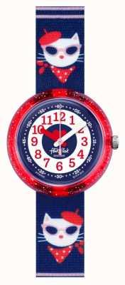 Flik Flak Catitude | bracelet en tissu bleu à imprimé chat | cadran bleu / blanc FPNP065