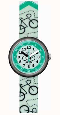 Flik Flak Bikeway | bracelet en tissu imprimé vélo vert | cadran vert FPNP066