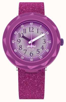 Flik Flak Purpleaxus | bracelet en silicone violet pailleté | cadran violet FCSP106