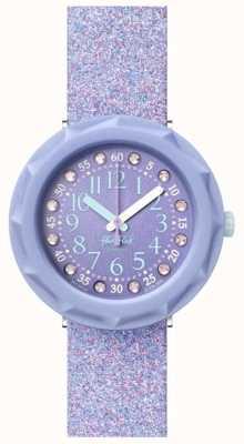 Flik Flak Lilaxus | bracelet en silicone violet pailleté | cadran violet FCSP102