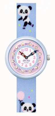 Flik Flak Pandi panda | bracelet en tissu imprimé panda bleu | cadran rose FBNP163