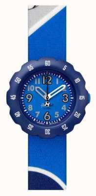 Flik Flak Bottes-le! | bracelet en tissu imprimé football bleu | cadran bleu FPSP045