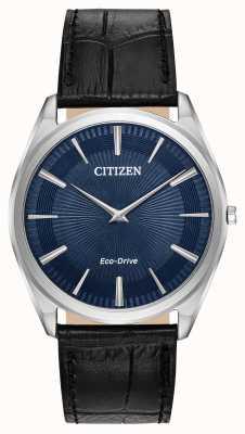 Citizen Stiletto | conduite écologique pour hommes | bracelet en cuir noir | cadran bleu AR3070-04L