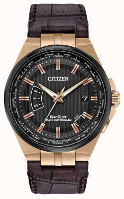 Citizen Le monde des hommes perpétuel à   bracelet en cuir marron CB0168-08E