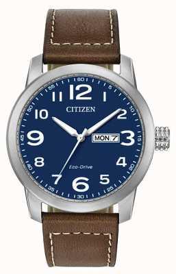 Citizen Bracelet homme cuir marron eco-drive WR100 BM8471-19L
