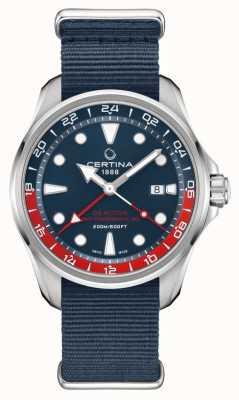 Certina Ds action gmt   bracelet en tissu bleu   cadran bleu   automatique C0324291804100