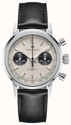 Hamilton Intramatic - chronographe mécanique | bracelet en cuir noir | cadran blanc H38429710