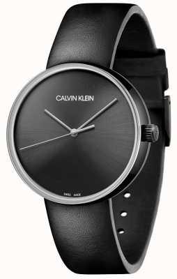 Calvin Klein Bracelet en cuir noir pour femme | cadran noir KBL234C1