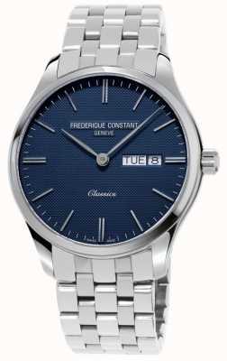 Frederique Constant Quartz classique pour hommes | bracelet en acier inoxydable | cadran bleu FC-225NT5B6