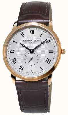 Frederique Constant Slimline pour hommes | bracelet en cuir marron | cadran argenté FC-235M4S4