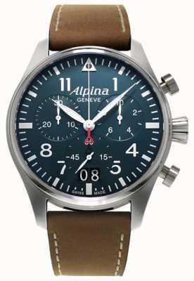 Alpina Chrono pilote smartimer pour homme | bracelet en cuir marron | cadran bleu AL-372N4S6