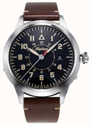 Alpina Smartimer Pilot Heritage Ltd | bracelet en cuir marron | cadran bleu AL-525BBG4SH6