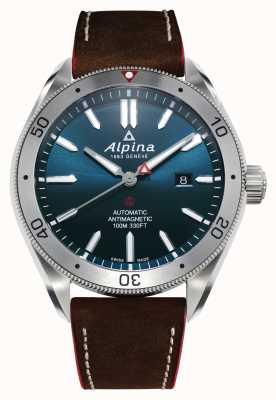 Alpina Alpiner 4 automatique pour hommes | bracelet en cuir marron | cadran bleu AL-525NS5AQ6