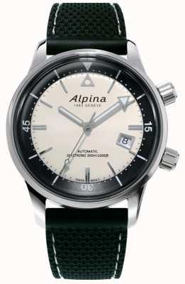 Alpina Héritage des plongeurs Seastrong pour hommes | bracelet en silicone noir | cadran blanc AL-525S4H6