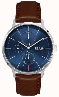 HUGO #exist | bracelet en cuir marron pour homme | cadran bleu 1530201