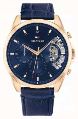 Tommy Hilfiger Baker   bracelet en cuir bleu   cadran bleu 1710451