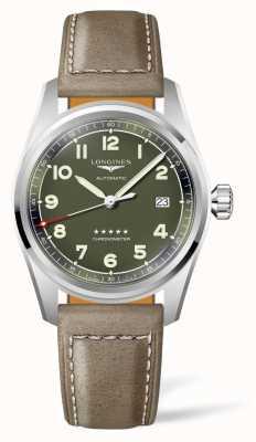 Longines Bracelet en cuir marron à cadran vert esprit L38104032