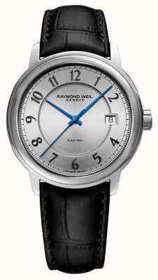 Raymond Weil | maestro | automatique | cadran arabe argenté | bracelet en cuir noir 2237-STC-05658