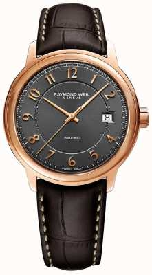 Raymond Weil Maestro | automatique | cadran arabe gris | bracelet en cuir marron 2237-PC5-05608