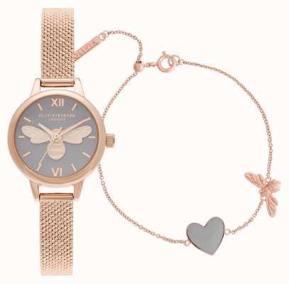 Olivia Burton Coffret cadeau montre et bracelet en or rose You Have My Heart OBGSET148