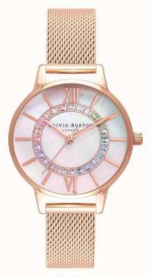 Olivia Burton Rainbow Sparkle Wonderland Maille Or Rose OB16WD95