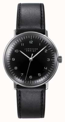 Junghans Remontage manuel Max bill | bracelet en cuir noir 027/3702.04