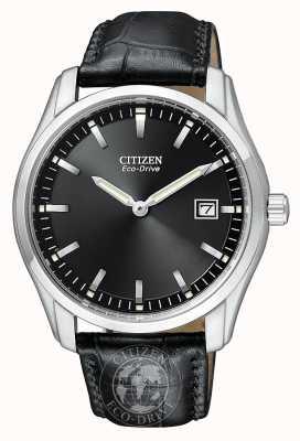 Citizen Cadran noir eco-drive pour homme avec bracelet en cuir véritable AU1040-08E